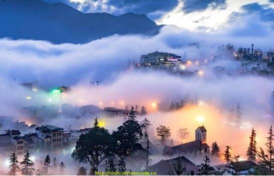 ngắm sapa trong sương trong tour cáp treo fansipnan 3 ngày 2 đêm
